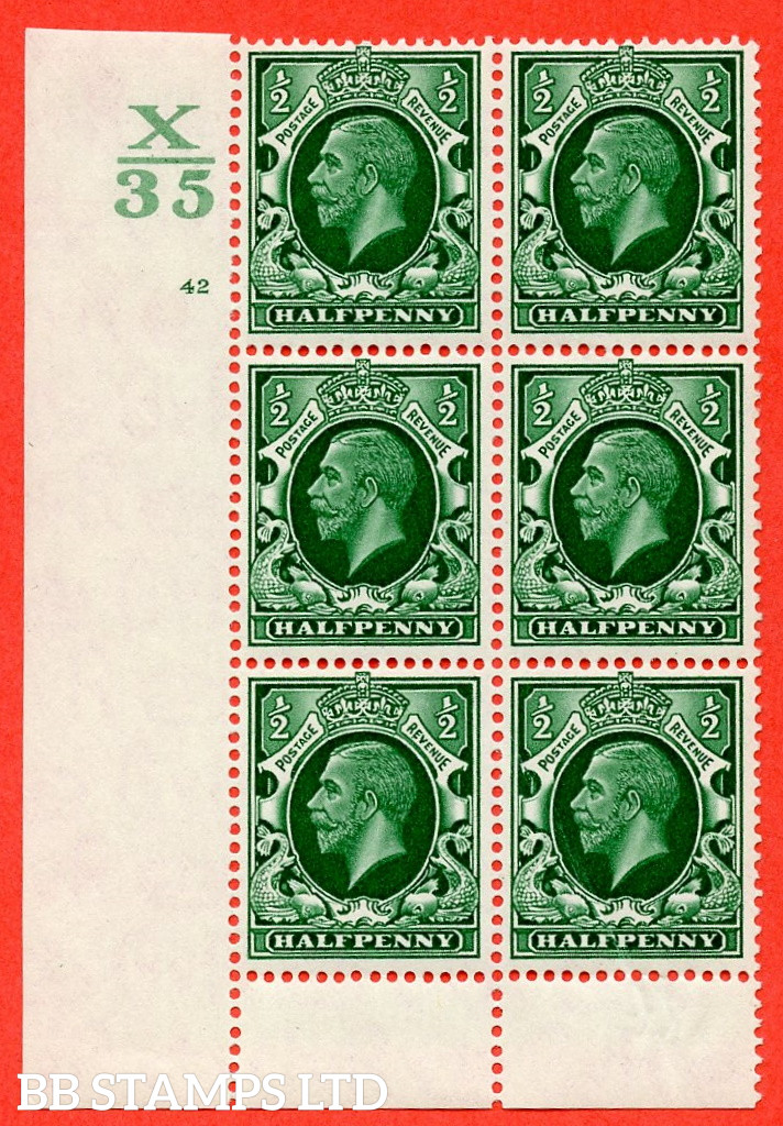 """SG. 439 N47 ½d. Green. A fine lightly mounted mint """" Control X35 cylinder 42 no dot """" control block of 6 with perf type 6 I/P"""
