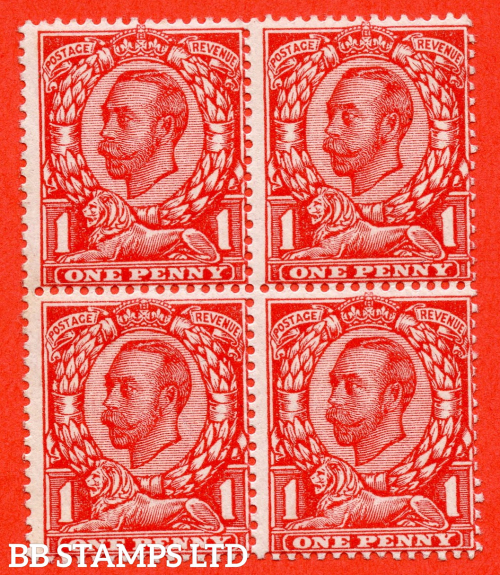 """SG. 341a. N11 (2) b. 1d bright scarlet. Die 2. A fine UNMOUNTED MINT block of 4 with the bottom left hand stamp clearly showing the """" NO CROSS ON CROWN """" error variety."""