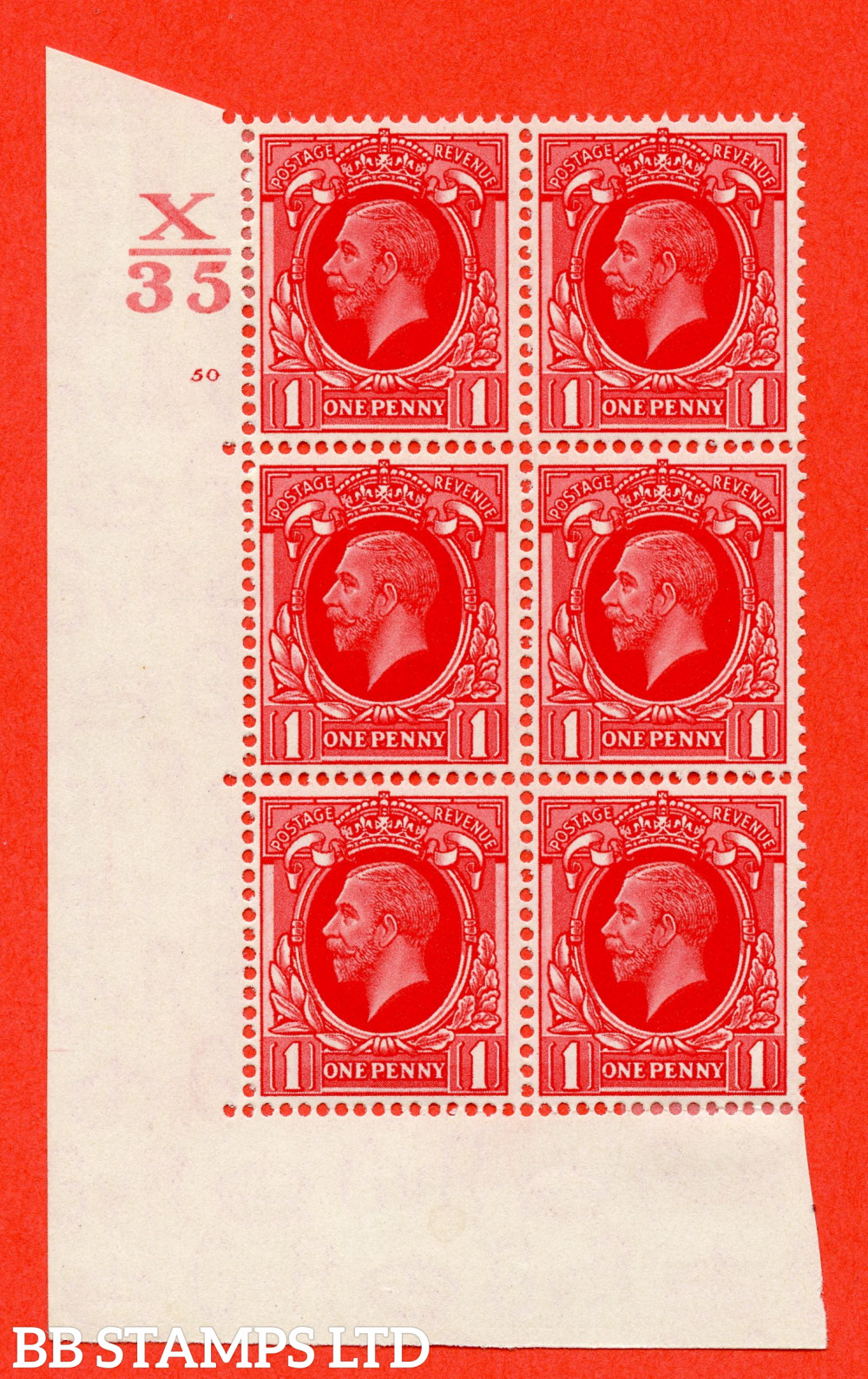 """SG. 440. N50. 1d. Scarlet. A fine lightly mounted mint """" Control X35 cylinder 50 no dot """" control block of 6 with perf type 5 E/I"""