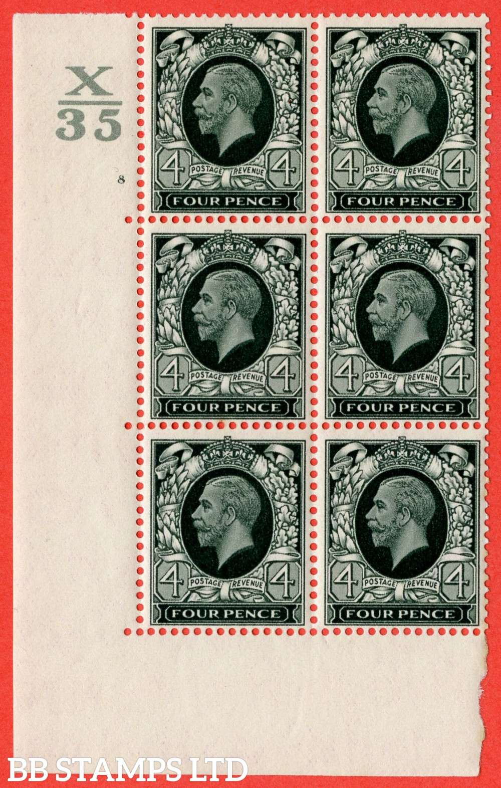 """SG. 445. N58. 4d Grey-Green. A fine lightly mounted mint """" Control X35 Cylinder 8 no dot """" block of 6 perf type 5 E/I"""