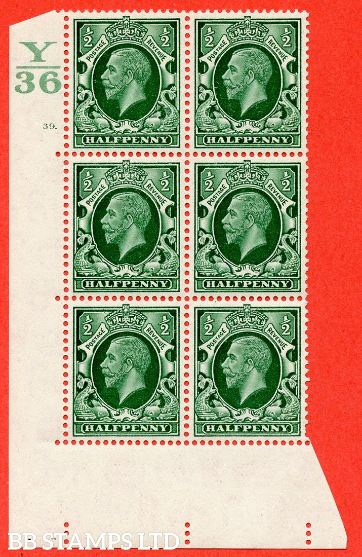 """SG. 439 N47 ½d. Green. A superb UNMOUNTED MINT """" Control Y36 cylinder 39 dot """" control block of 6 with perf type 5 E/I"""