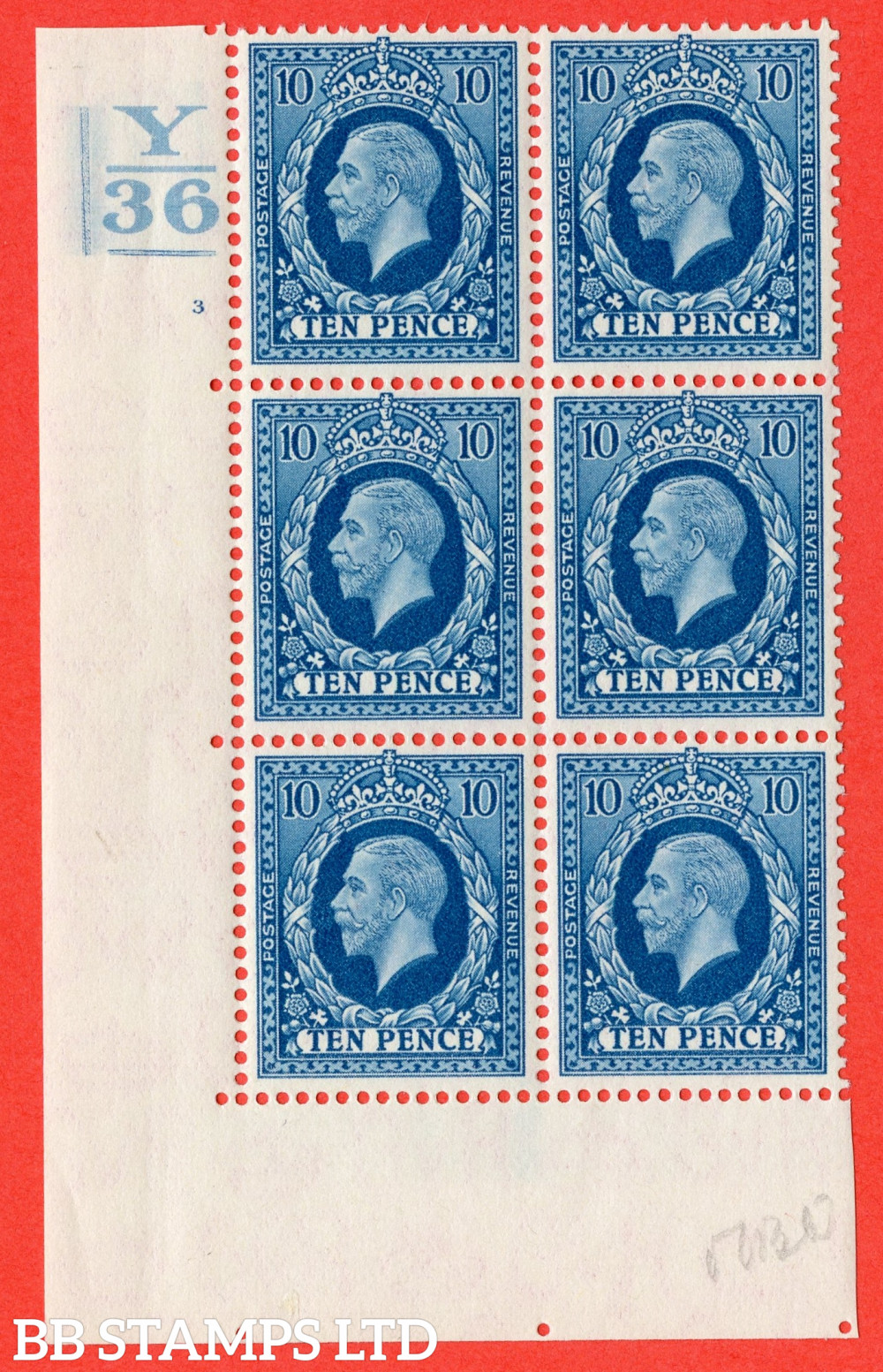 SG. 448. N61. 10d Turquoise-Blue. A very fine mounted mint block of 6. 2 Bars. Control Y36. Cylinder 3 no dot perf type 5 E/I.