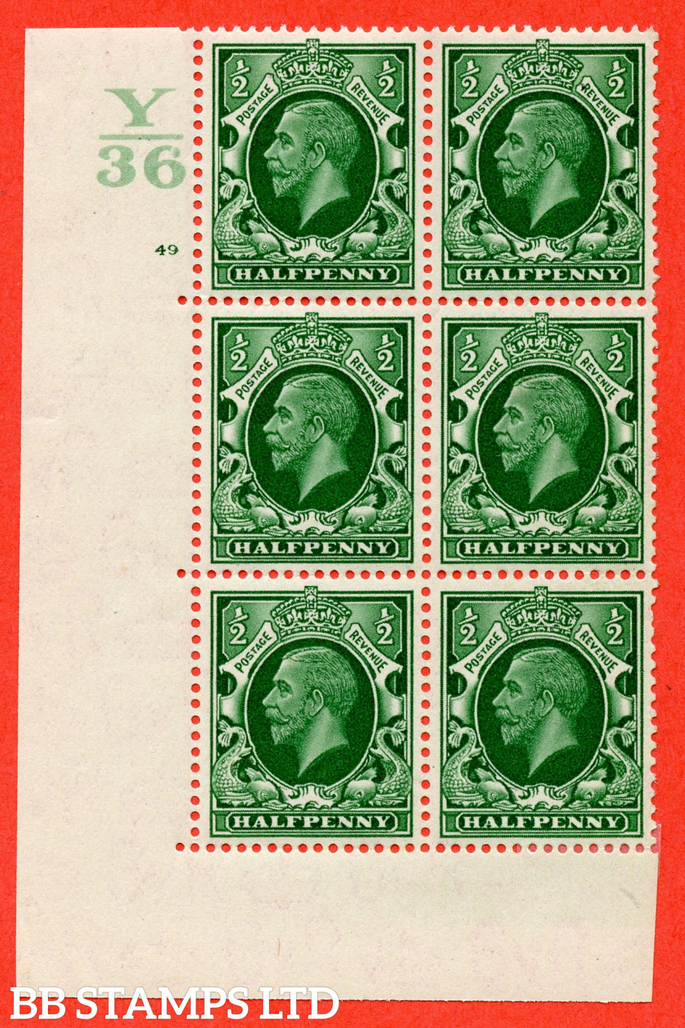 """SG. 439 N47 ½d. Green. A fine lightly mounted mint """" Control Y36 cylinder 49 no dot """" control block of 6 with perf type 5 E/I"""