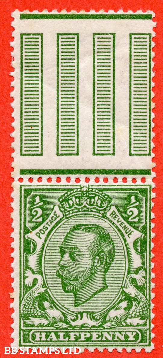 """SG. 344a. N5 (1) e. ½d Green. Die 2. """" NO CROSS ON CROWN """". A fine UNMOUNTED MINT interpanneau marginal example of this scarce George V variety."""