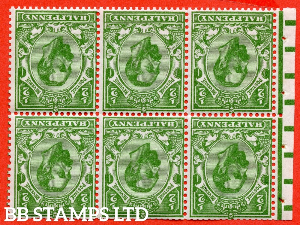 SG. 324 aw. Variety 324 wi. NB1 a. N2 (3) a. ½d yellow green. Die 1B. INVERTED WATERMARK. A fine mounted mint booklet pane with perf type ' E '.