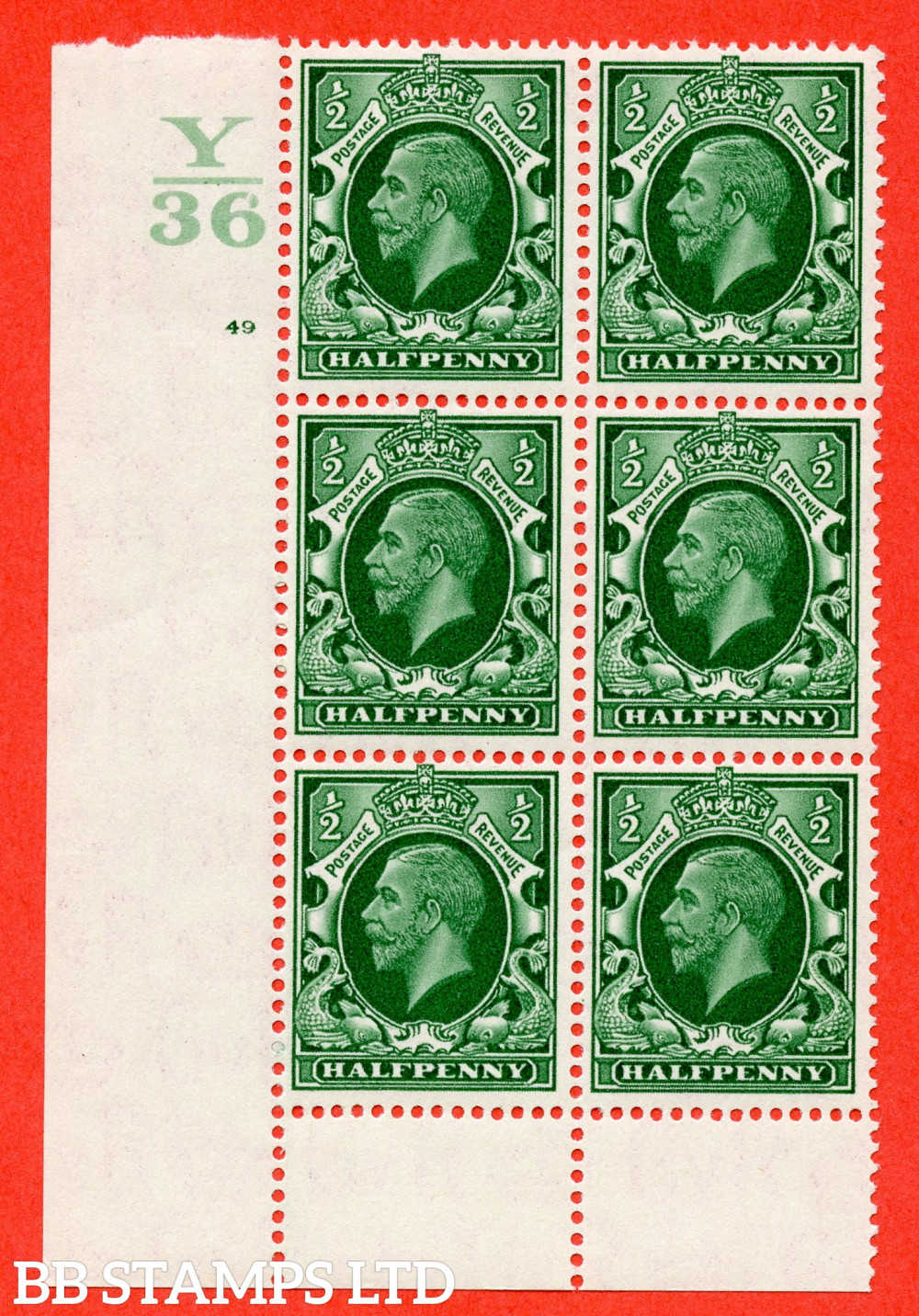 """SG. 439 N47 ½d. Green. A fine lightly mounted mint """" Control Y36 cylinder 49 no dot """" control block of 6 with perf type 6 I/P"""