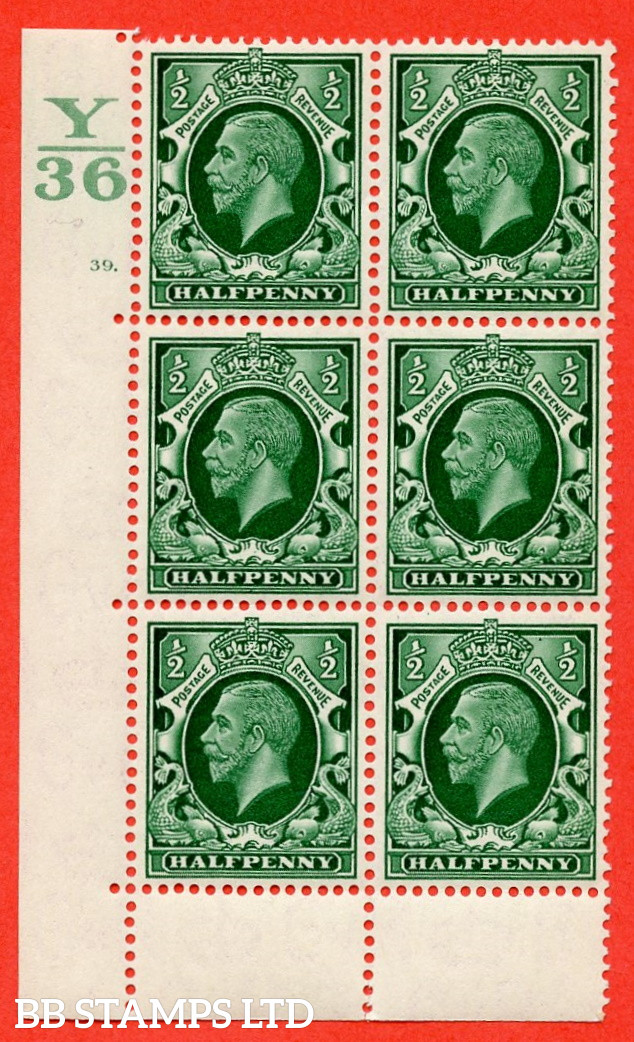 """SG. 439 N47 ½d. Green. A superb UNMOUNTED MINT """" Control Y36 cylinder 39 dot """" control block of 6 with perf type 6B E/P"""