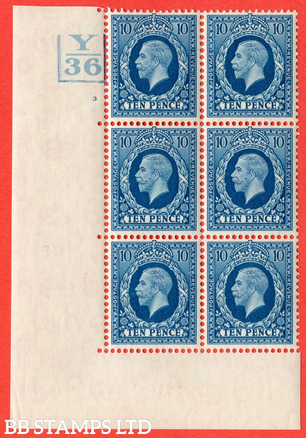 SG. 448. N61. 10d Turquoise-Blue. A very fine mounted mint block of 6. 3 Bars. Control Y36. Cylinder 3 no dot perf type 5 E/I.