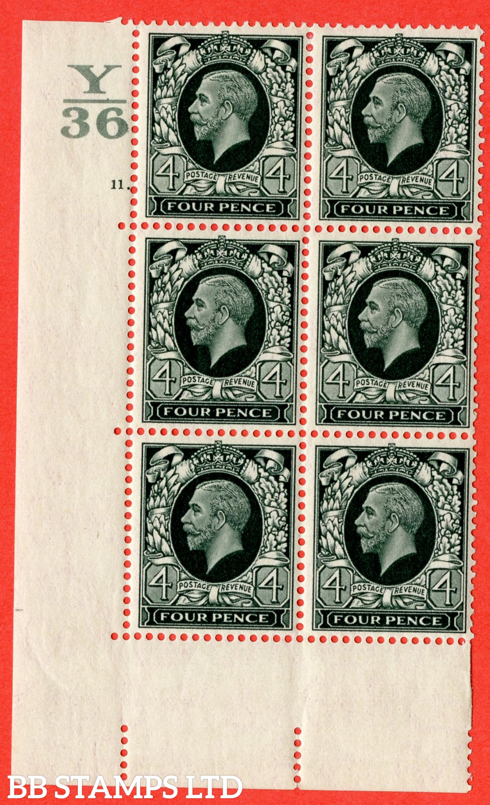 SG. 445. N58. 4d Grey-Green. A fine mounted mint block of 6. Control Y36. Cylinder 11 dot perf type 5 E/I.