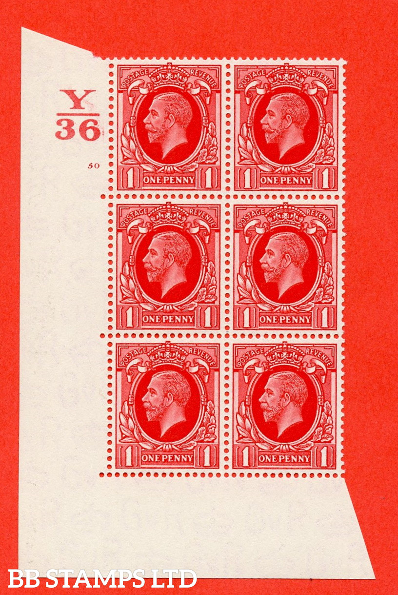 """SG. 440 N50. 1d scarlet. A superb unmounted mint """" Control Y36 cylinder 50 no dot """" block of 6 with perf type 5 E/I"""