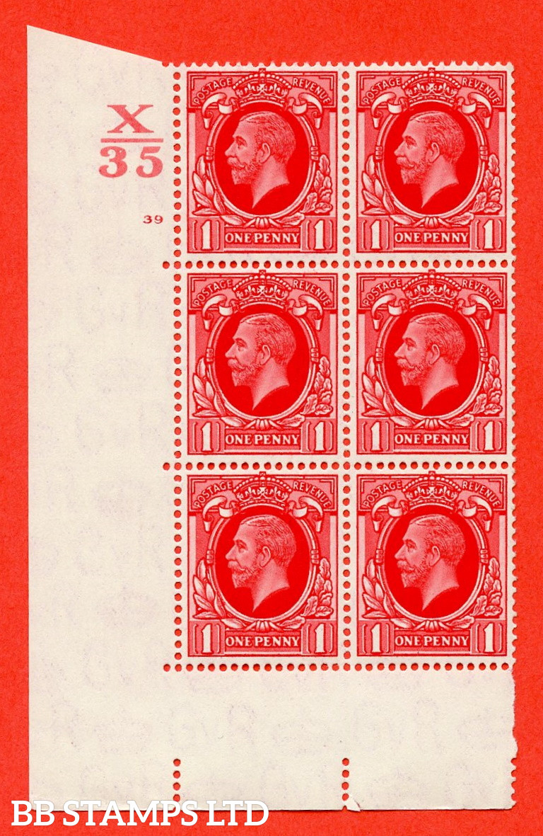 """SG. 440 N50 1d. Scarlet.. A superb unmounted mint """" Control X35 cylinder 39 No dot """" control block of 6 with perf type 5 E/I"""