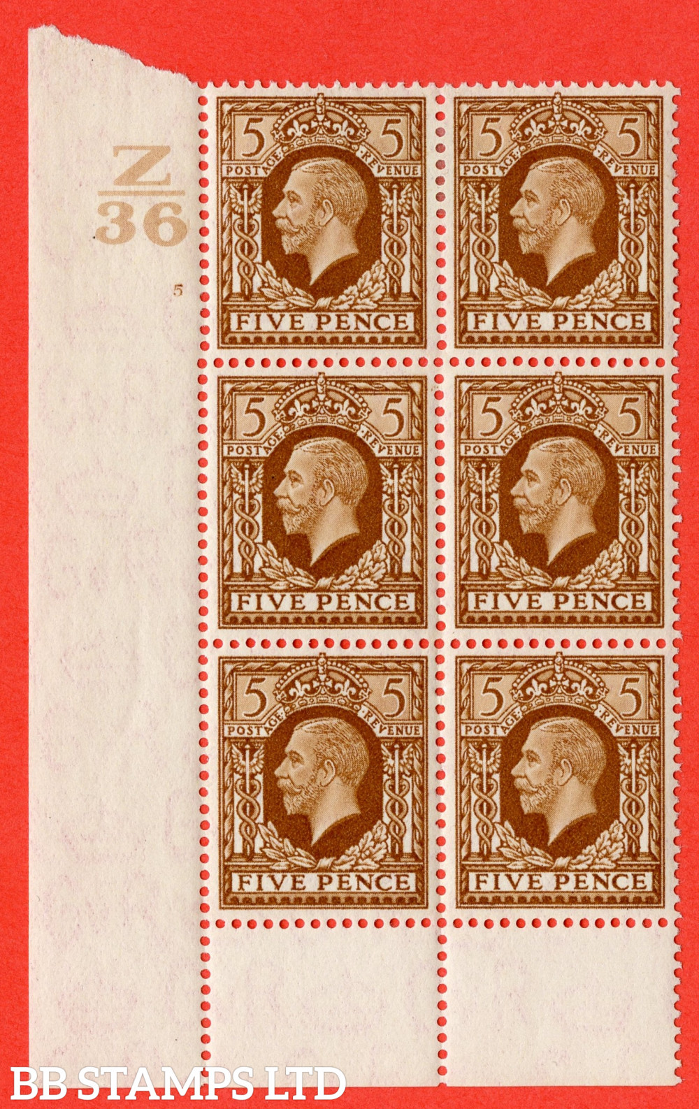 SG. 446. N59. 5d Yellow-Brown. A fine mounted mint block of 6. Control Z36. Cylinder 5 no dot perf type 6 I/P.