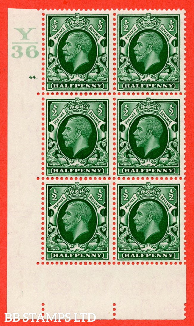 """SG. 439 N47 ½d. Green. A fine lightly mounted mint """" Control Y36 cylinder 44 dot """" control block of 6 with perf type 5 E/I"""