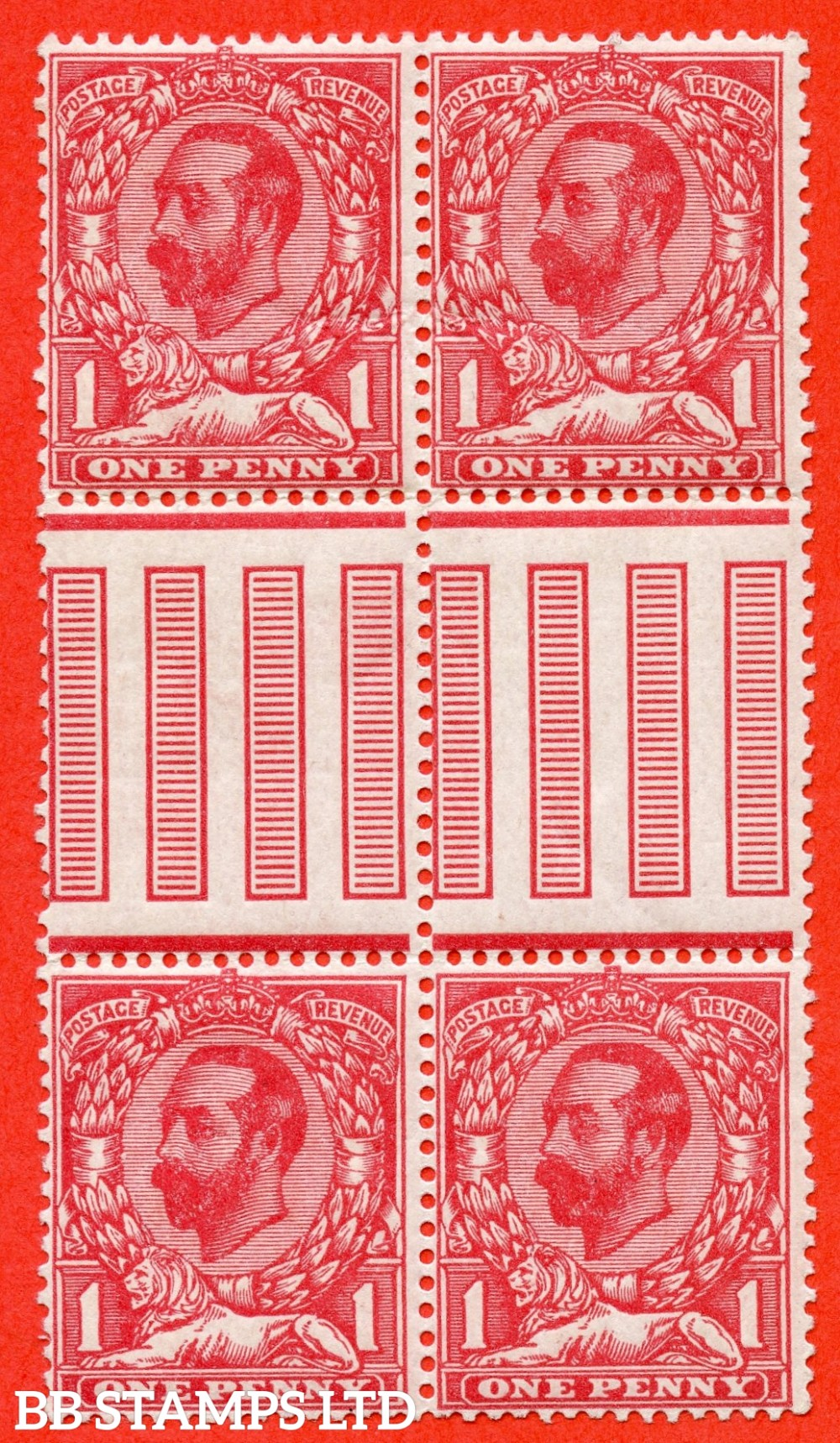 SG. 327 variety N7 ( UNLISTED ). 1d Bright Carmine. Die 1A. A very fine UNMOUNTED MINT interpanneau gotter block of 4 of this known but unlisted by SG Downey shade variety complete with Hendon certificate.