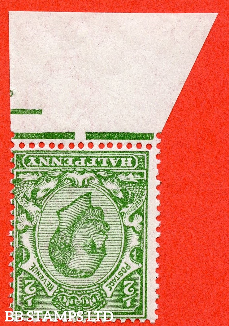 SG. 344wi. N5 (1)b. ½d Green. Die 2. INVERTED WATERMARK. A super UNMOUNTED MINT bottom marginal example of this difficult George V watermark variety.