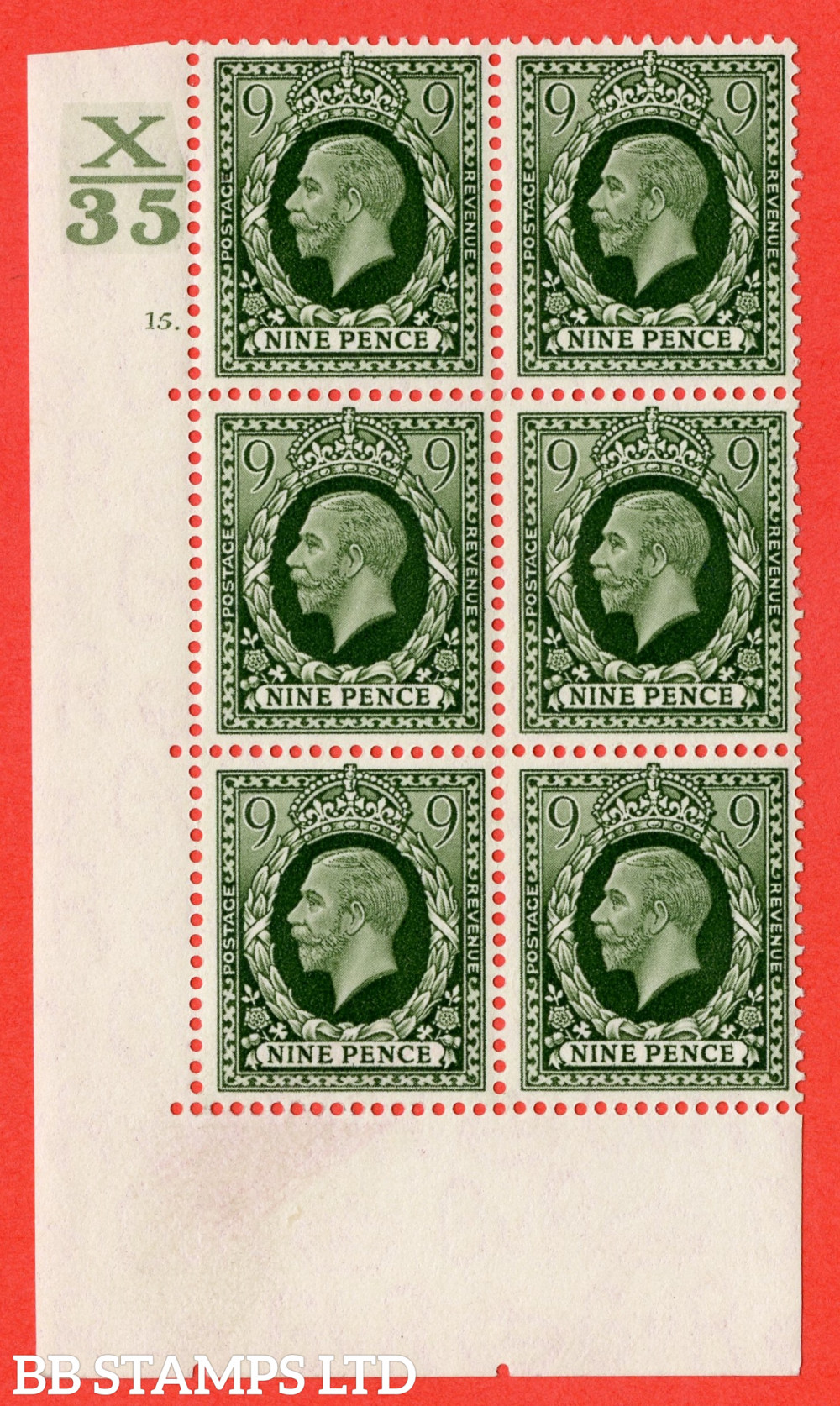 SG. 447. N60. 9d Deep Olive-Green. A fine mounted mint block of 6. Control X35. Cylinder 15 dot perf type 5 E/I.