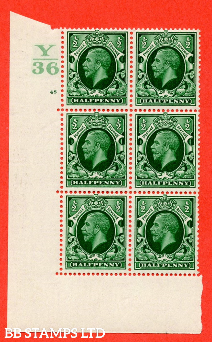 """SG. 439 N47 ½d. Green. A superb unmounted mint """" Control Y36 cylinder 48 no dot """" control block of 6 with perf type 5 E/I"""