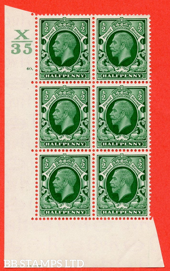 """SG. 439 N47 ½d. Green. A superb UNMOUNTED MINT """" Control X35 cylinder 40 dot """" control block of 6 with perf type 5 E/I"""