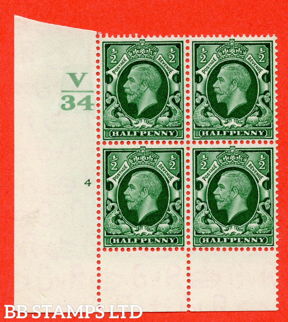 """SG. 439 variety N46 ½d. Green. A superb unmounted mint """" Control V34 cylinder 4 no dot """" control block of 4 with perf type 6 I/P"""
