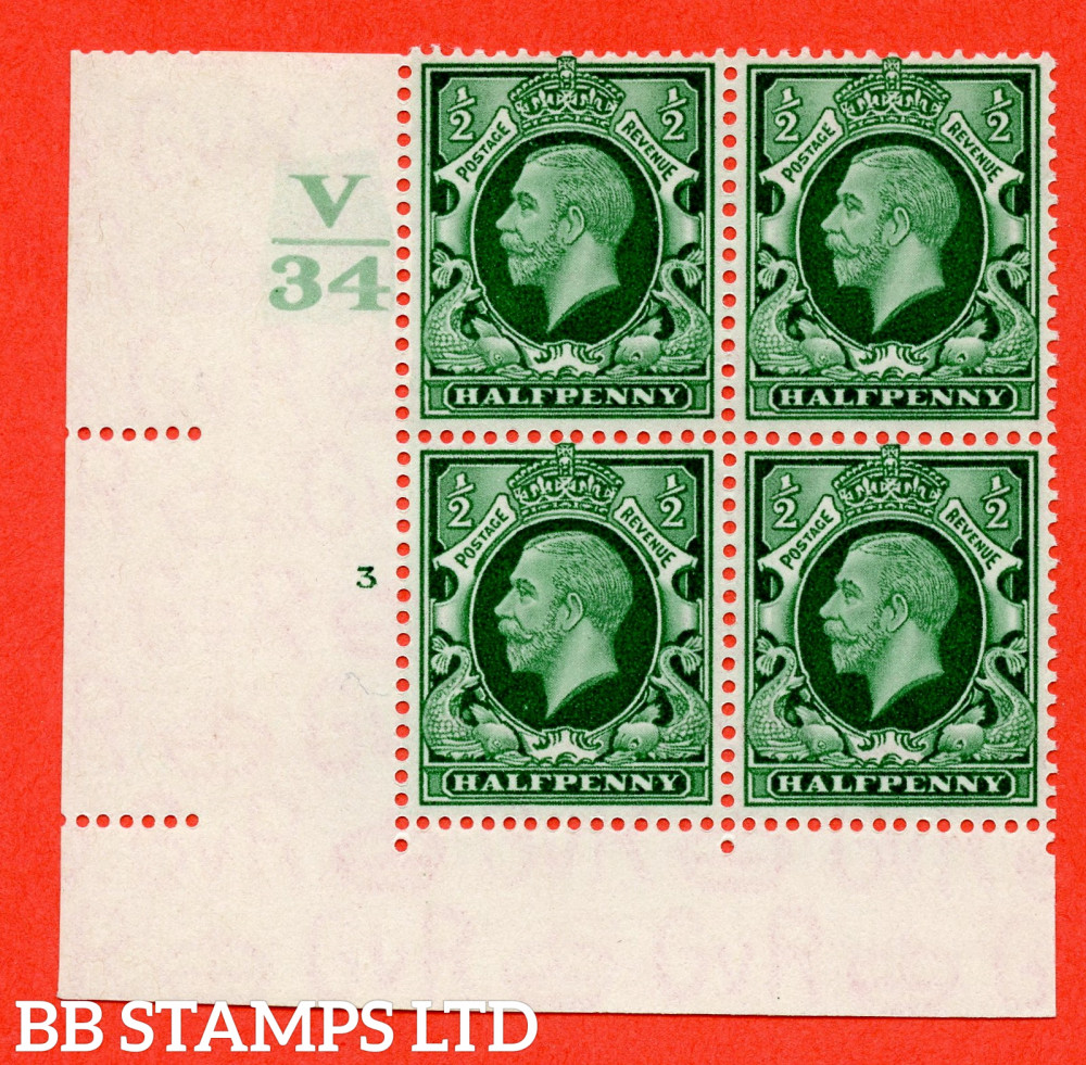 """SG. 439 variety N46 ½d. Green. A very fine mounted mint """" Control V34 cylinder 3 no dot """" control block of 4 with perf type 2 I/E"""