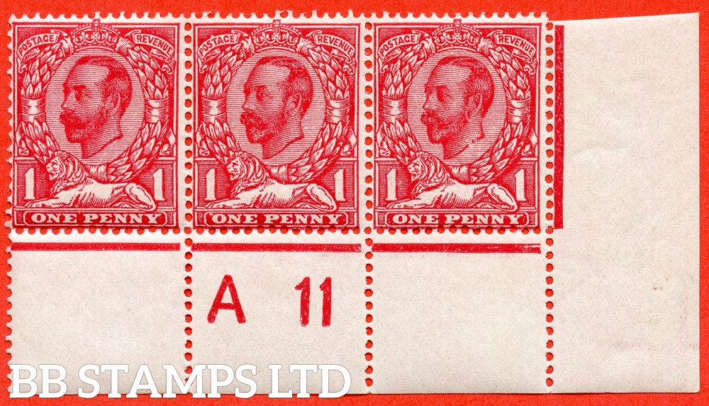 """SG. 330 variety N8 (5) d. 1d deep bright carmone. A fine UNMOUNTED MINT control """" A11 close - imperf """" horizontal strip of 3 with the listed variety """" white spot left of ' O ' and white spot above ' T ' of POSTAGE. PL.14. Row 20/11."""