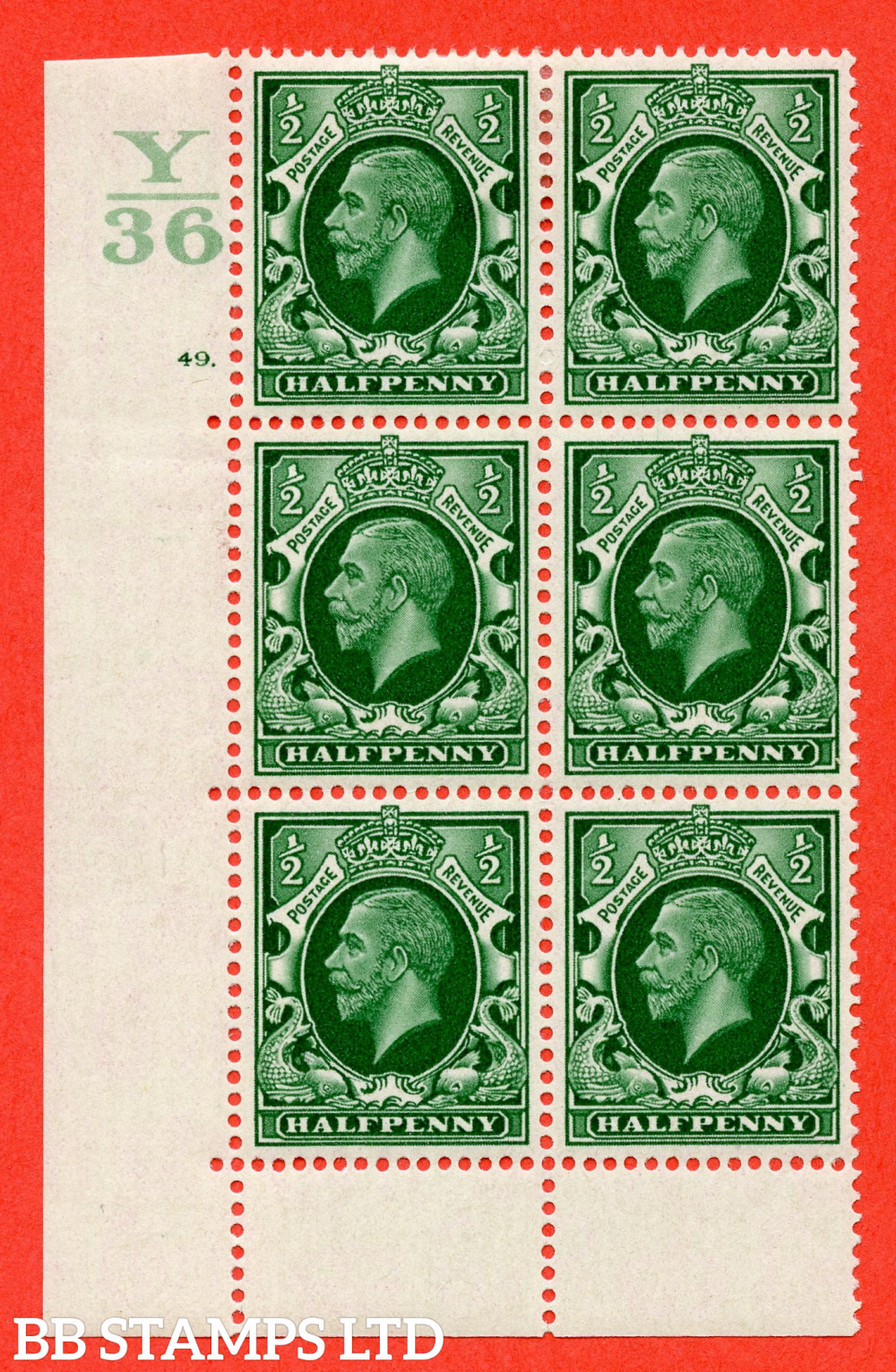 """SG. 439 N47 ½d. Green. A fine lightly mounted mint """" Control Y36 cylinder 49 dot """" control block of 6 with perf type 6B E/P"""