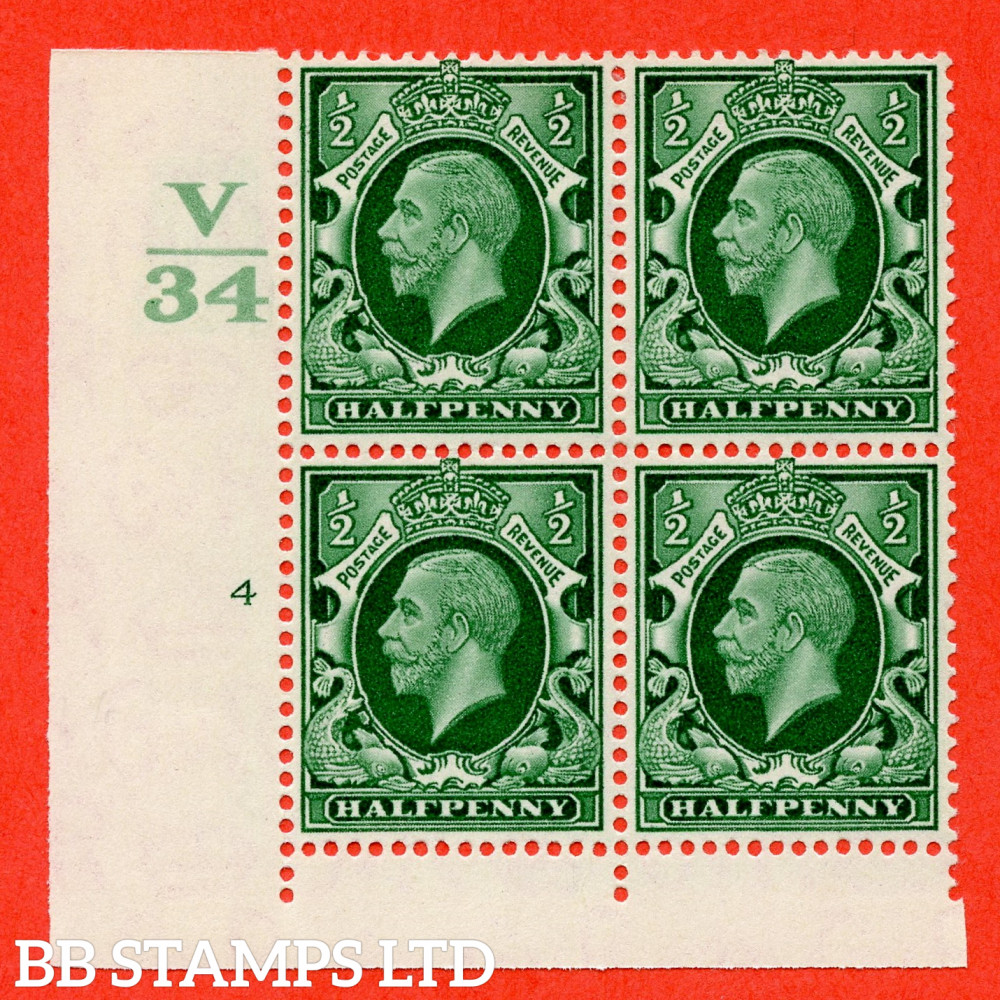 """SG. 439 variety N46 ½d. Green. A fine lightly mounted mint """" Control V34 cylinder 4 no dot """" control block of 4 with perf type 4 I/2E"""