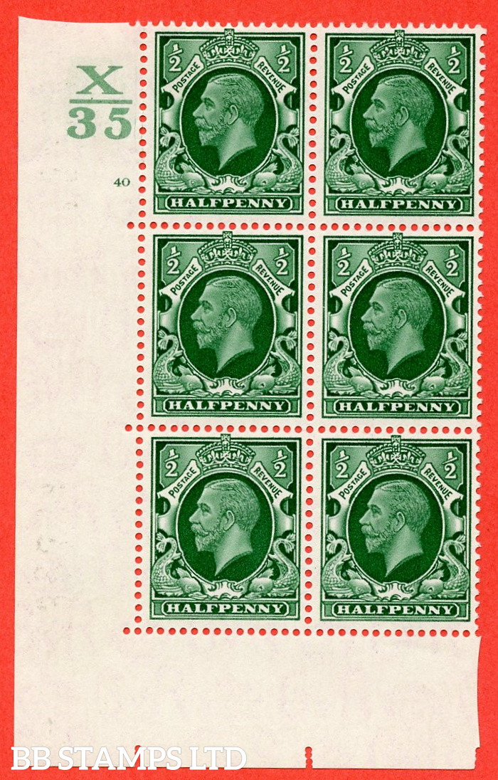 """SG. 439 N47 ½d. Green. A fine lightly mounted mint """" Control X35 cylinder 40 no dot """" control block of 6 with perf type 5 E/I"""