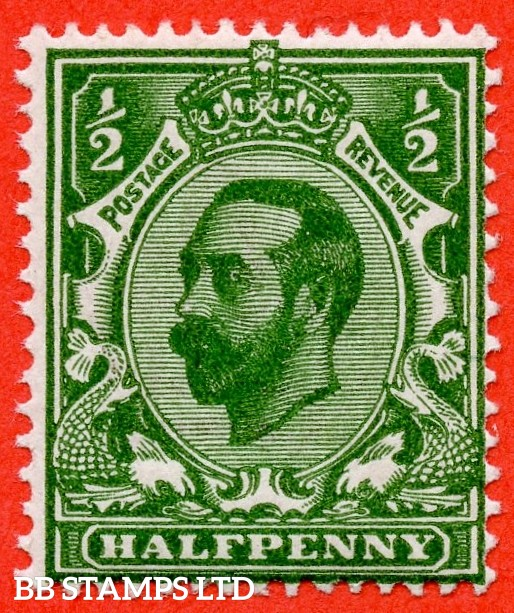 SG. 325 variety N2 (UNLISTED). ½d very deep bright green. Die 1B. A super UNMOUNTED MINT example of this known but UNLISTED by SG. George V shade variety. With Hendon certificate.