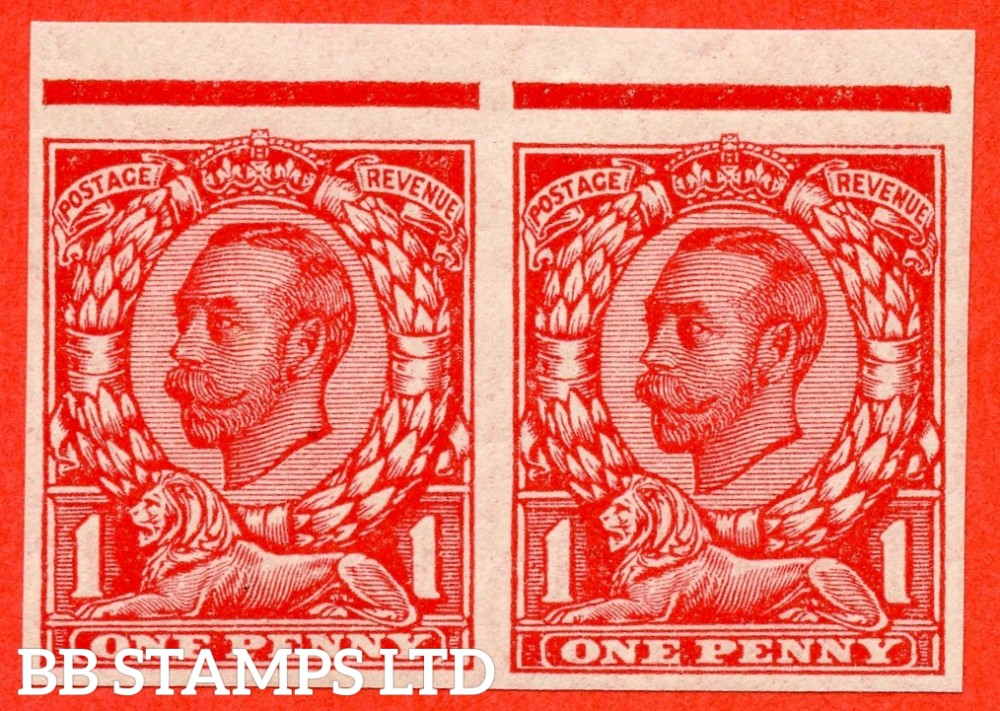 "SG. 350 b. N13 (1) e. 1d Scarlet. "" IMPERF "". A very fine UNMOUNTED MINT top marginal horizontal pair of this scarcer Downey variety."