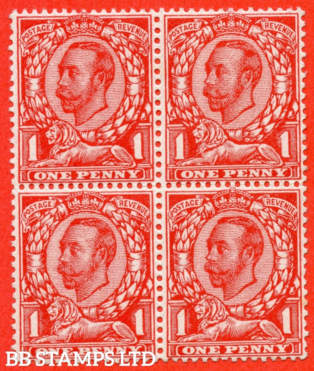 """SG. 343a. N11(5) d. 1d Aniline scarlet. Die 2. """" NO CROSS ON CROWN """" A very fine UNMOUNTED MINT block of 4 with the bottom left hand corner stamp clearly showing this RARE George V variety."""