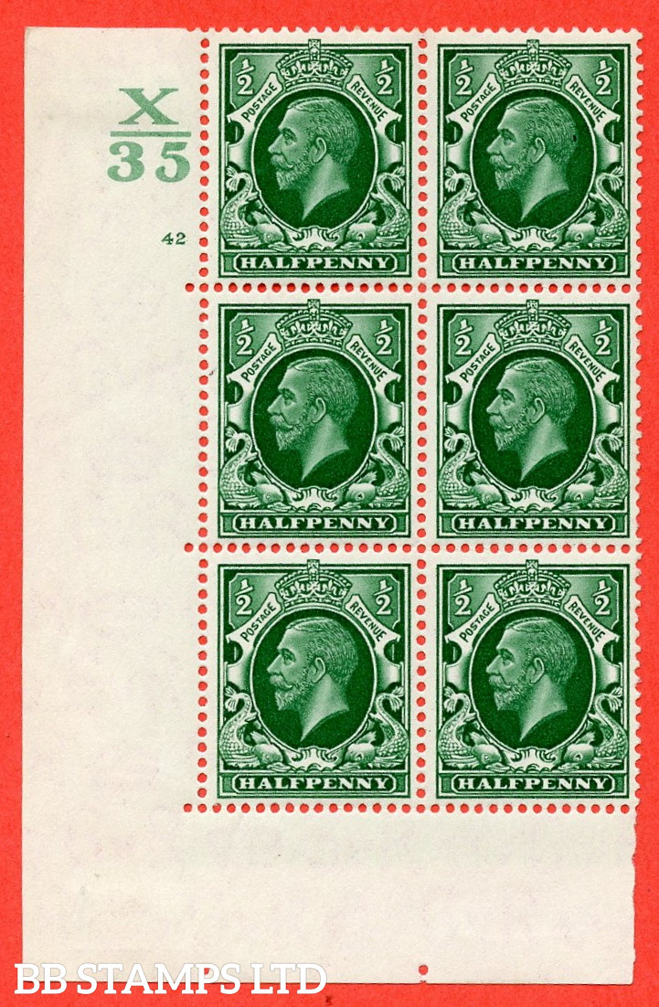 """SG. 439 N47 ½d. Green. A fine mounted mint """" Control X35 cylinder 42 no dot """" control block of 6 with perf type 5 E/I"""