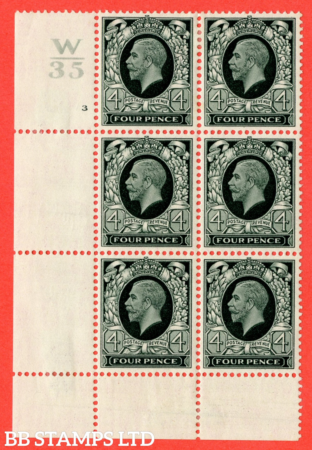 SG. 445. N58. 4d Grey-Green. A fine mint block of 6. Control W35. Cylinder 3 dot perf type 2A P/P. Cylinder 3 perf type 2A (P/P) has no dot, presumably ommitted in error.