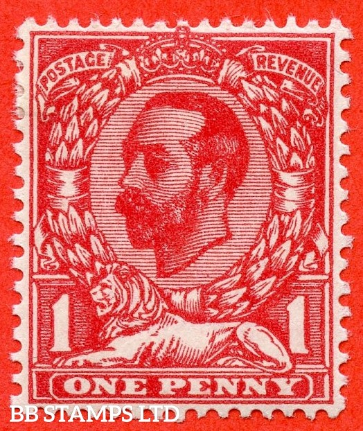 SG. 327 variety N7 ( UNLISTED ). 1d deep bright carmine red. Die 1A. A fine mounted mint example of this known but unlisted by SG. George V Downey head shade variety complete with Hendon certificate.