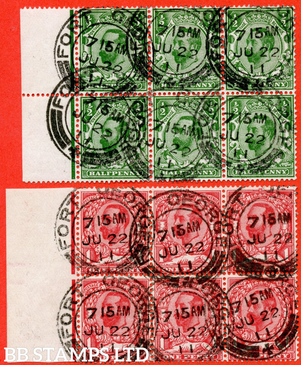 "SG. 322 and 327. Set in matching left hand marginal blocks of 6 cancelled by FIRST DAY OF ISSUE "" 22nd June 1911 FORT GEORGE "" CDS's. A remarkable matched pair."