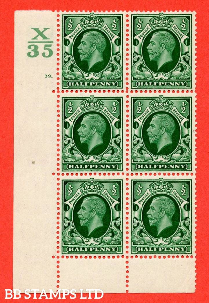 """SG. 439 N47 ½d. Green. A superb unmounted mint """" Control X35 cylinder 39 dot """" control block of 6 with perf type 6B E/P"""