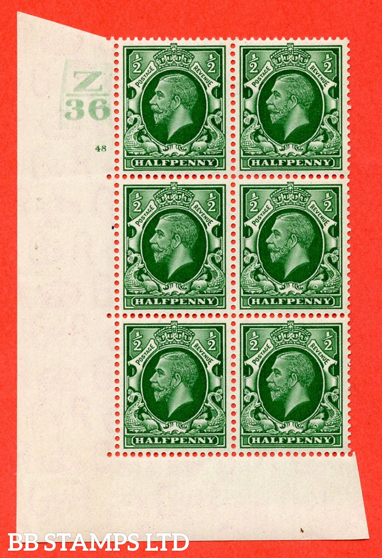 """SG. 439 N47 ½d. Green. A superb unmounted mint """" Control Z36 cylinder 48 no dot """" control block of 6 with perf type 5 E/I"""