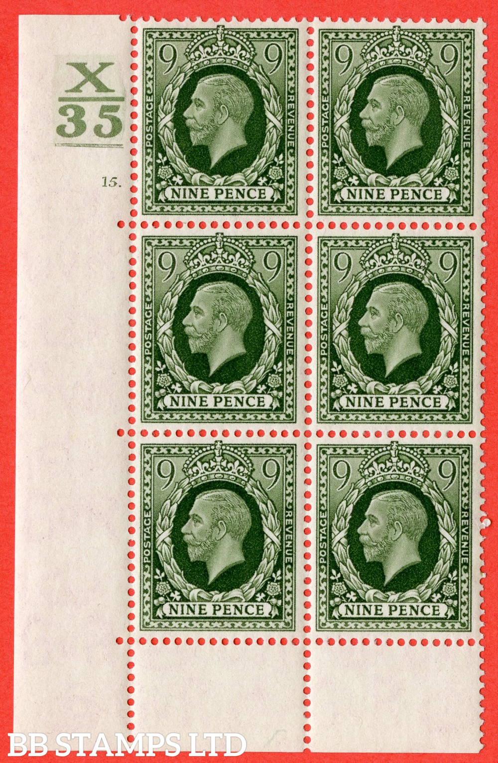 SG. 447. N60. 9d Deep Olive-Green. A fine mounted mint block of 6. Control X35. 1 Bar. Cylinder 15 no dot perf type 6B E/P.