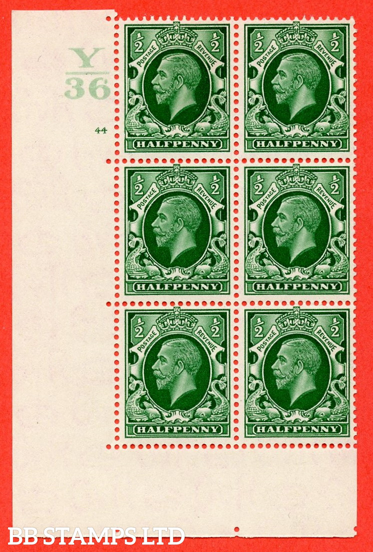 """SG. 439 N47 ½d. Green. A superb unmounted mint """" Control Y36 cylinder 44 no dot """" control block of 6 with perf type 5 E/I"""