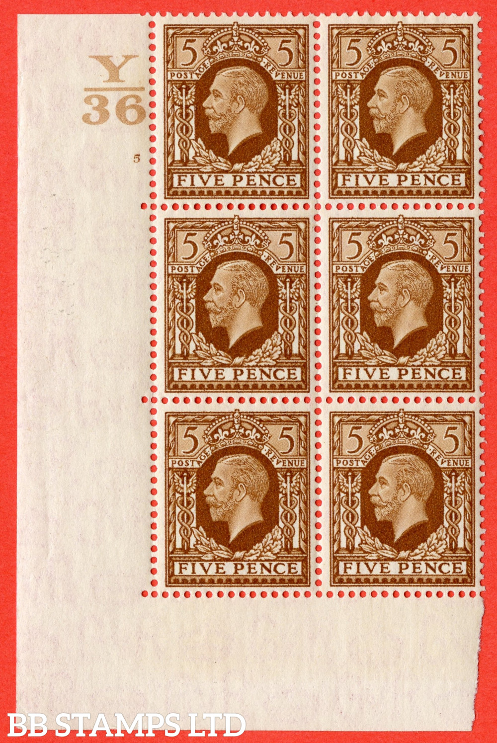 SG. 446. N59. 5d Yellow-Brown. A fine mounted mint block of 6. Control Y36. Cylinder 5 no dot perf type 5 E/I.