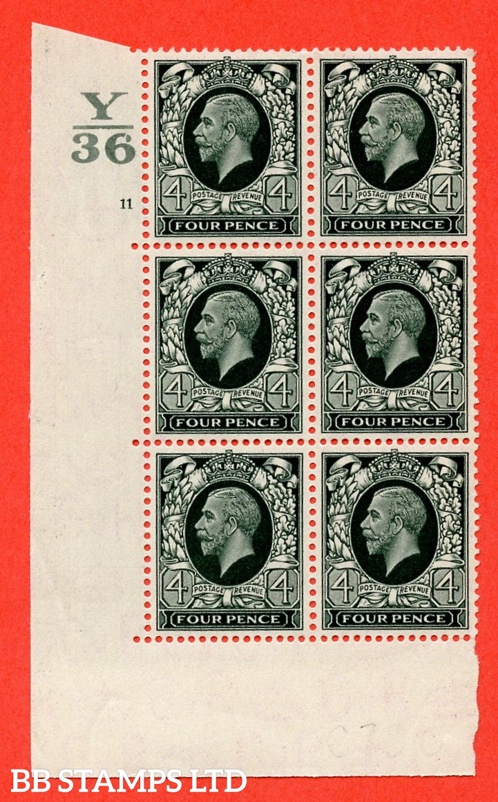 SG. 445. N58. 4d Grey-Green. A Superb UNMOUNTED mint block of 6. Control Y36. Cylinder 11 no dot perf type 5 E/I