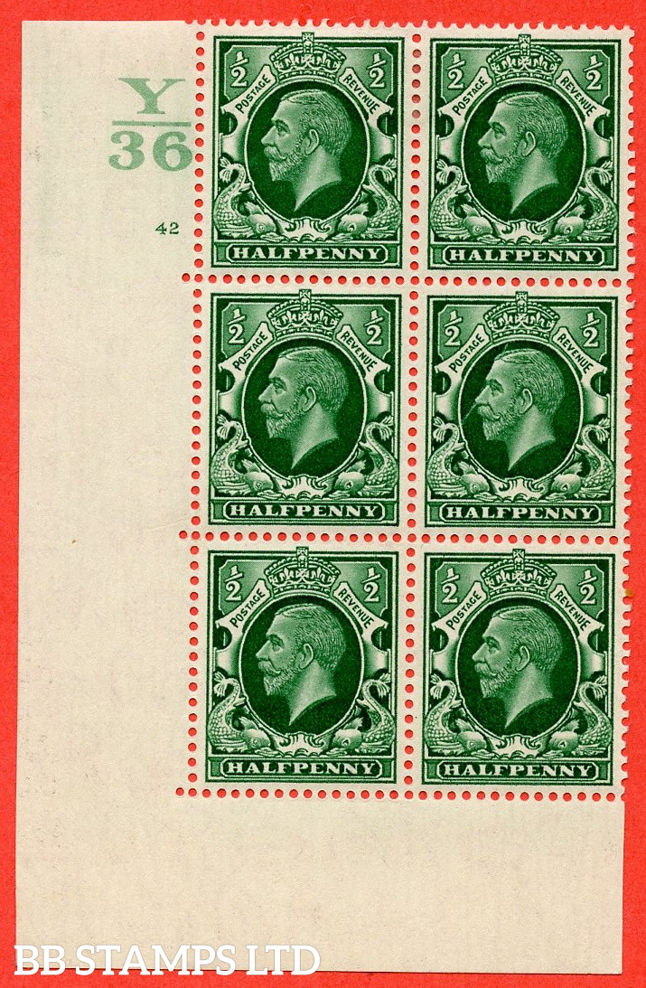"""SG. 439 N47 ½d. Green. A fine lightly mounted mint """" Control Y36 cylinder 42 no dot """" control block of 6 with perf type 5 E/I"""