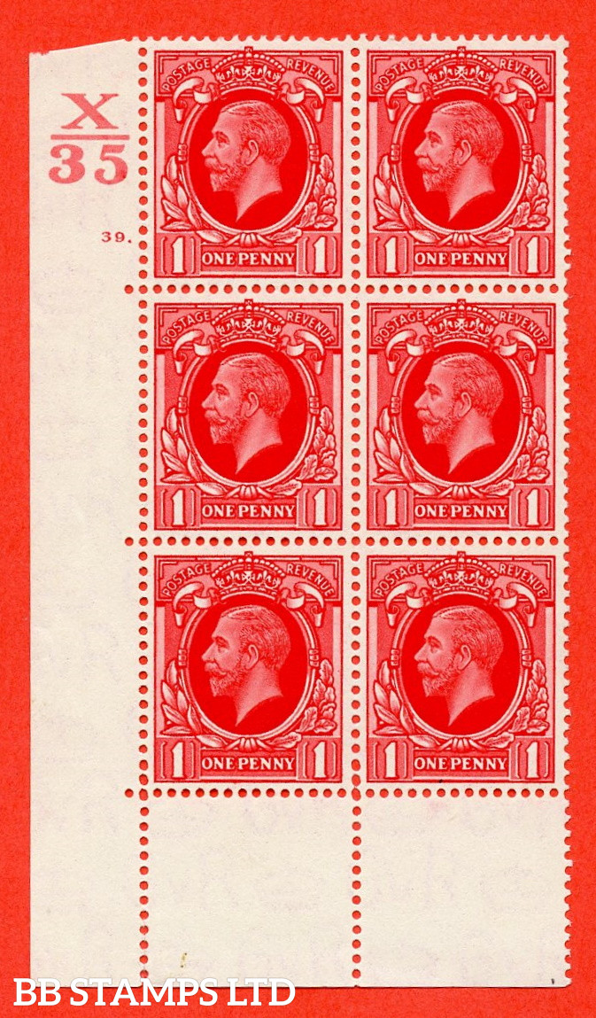 """SG. 440 N50 1d. Scarlet. A superb UNMOUNTED MINT """" Control X35 cylinder 39 dot """" control block of 6 with perf type 6B E/P"""