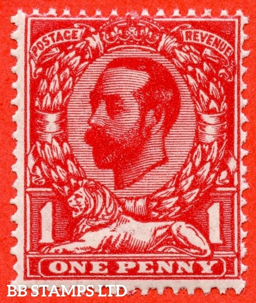SG. N7 ( UNLISTED ). 1d INTENSE carmine red. Die 1A. A fine UNMOUNTED MINT example of this known but unlisted by SG. George V shade variety. Complete with Hendon Certificate.