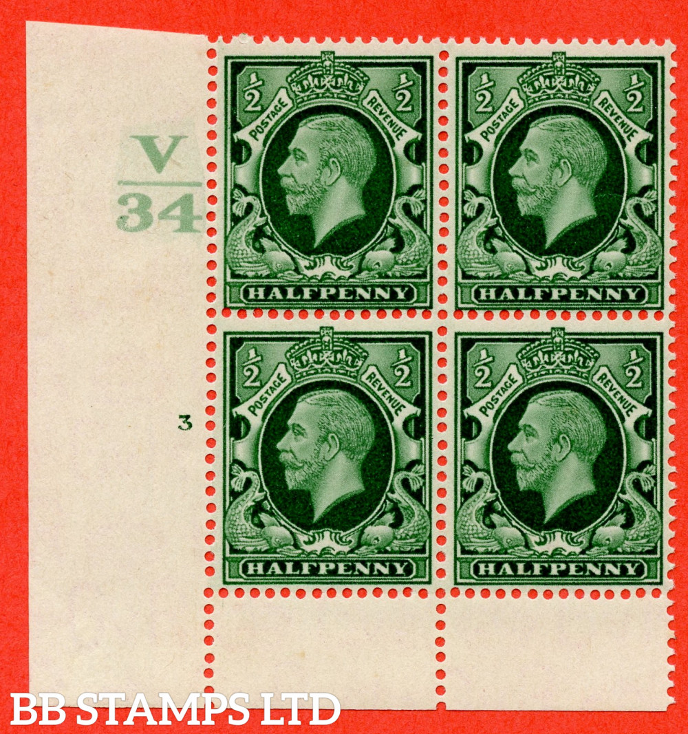 """SG. 439 variety N46 ½d. Green. A fine lightly mounted mint """" Control V34 cylinder 3 no dot """" control block of 4 with perf type 6 I/P"""