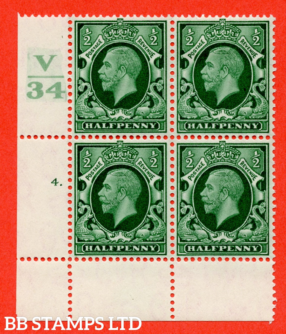 """SG. 439 variety N46 ½d. Green. A fine mounted mint """" Control V34 cylinder 4 dot """" control block of 4 with perf type 2A P/P"""