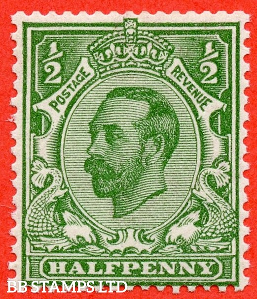 SG. 335 variety N3 (UNLISTED) f. ½d YELLOW green. A very fine UNMOUNTED MINT example complete with Hendon certificate.
