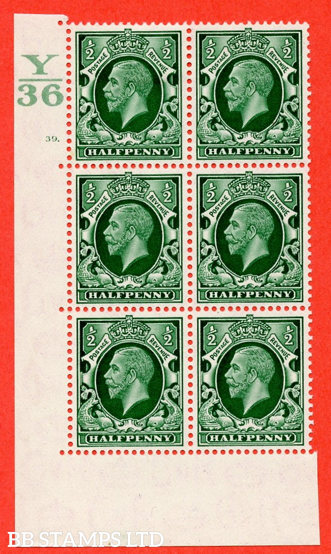 """SG. 439 N47 ½d. Green. A fine lightly mounted mint """" Control Y36 cylinder 39 dot """" control block of 6 with perf type 5 E/I"""