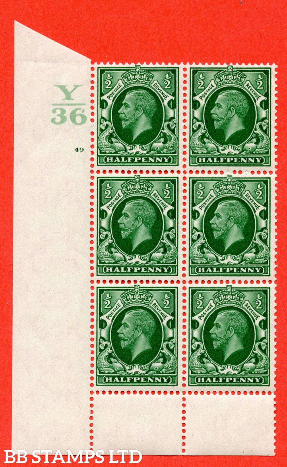 """SG. 439 N47 ½d. Green. A superb unmounted mint """" Control Y36 cylinder 49 no dot """" control block of 6 with perf type 6 I/P"""