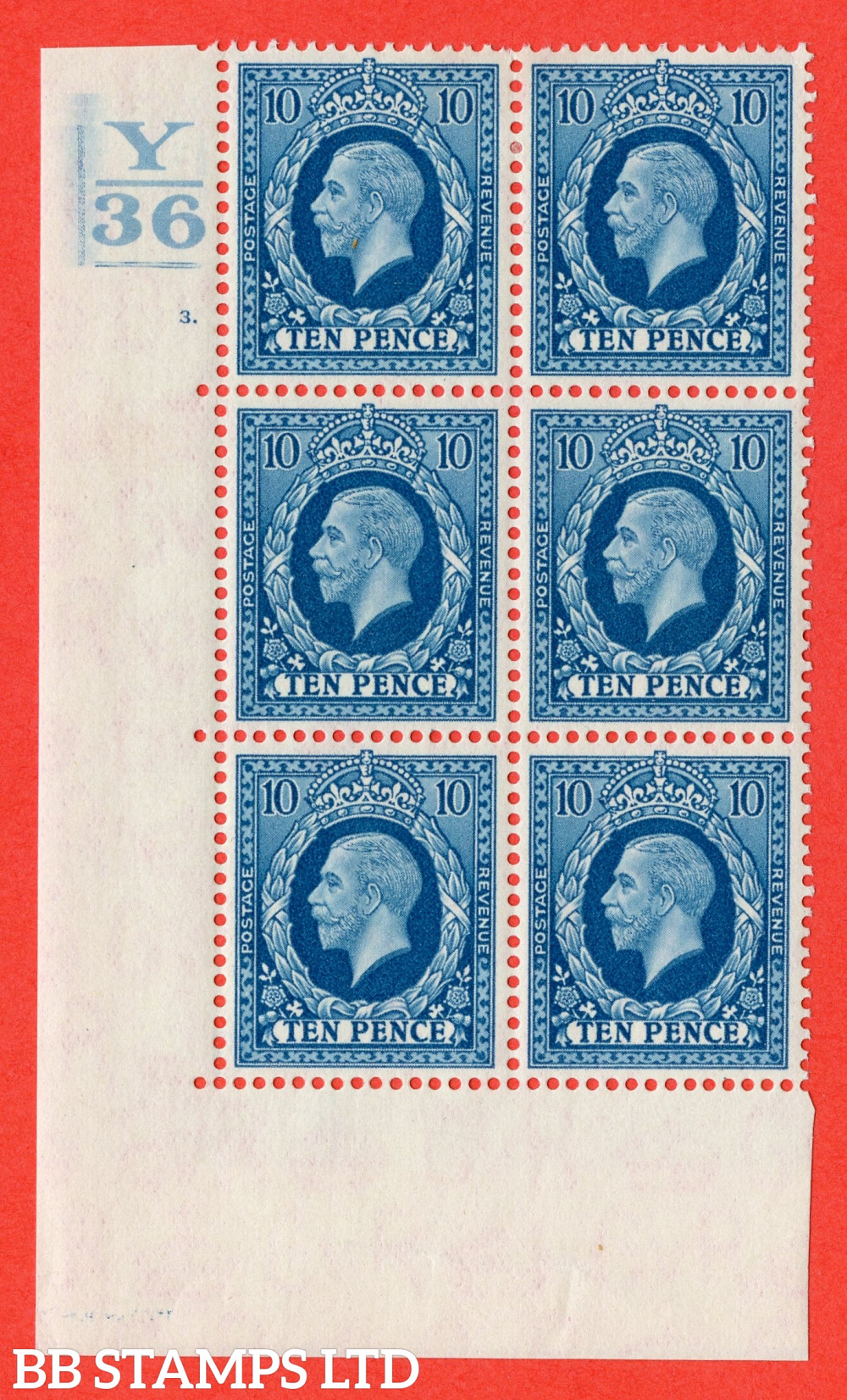 SG. 448. N61. 10d Turquoise-Blue. A very fine mint block of 6. Control Y36. 2 Bars. Cylinder 3 dot perf type 5 E/I.